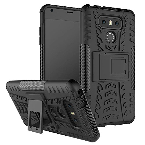 YHUISEN LG G6 Case, Hyun Pattern Dual Layer Hybrid Armor Case Abnehmbar Kickstand 2 In 1 Shockproof Tough Rugged Case Cover für LG G6 ( Color : Purple ) Black