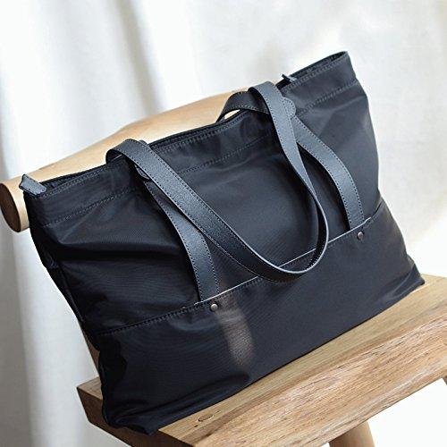 Compartiment rembourré pour ordinateur portable en cuir sac épaule Sac shopping mode Sacs utilitaires Black + gray