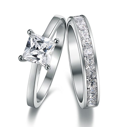 925 Sterlingsilber Princess Cut Strass Accent Love Forever Damen-Ring-Set Verlobungs-/Ehering für Damen Teenager, girls, Größe M, J, K, L, N, O, P Q, R, S, mit Geschenkbox, ideales Geschenk für - Diamond Forever