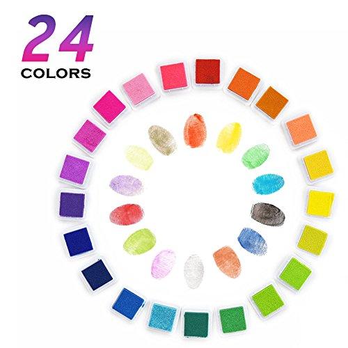 Samione Stempelkissen Tinte Pads Stempel Stamp Pad Fingerdruck für Papier Handwerk Stoff, Fingerabdruck ,Scrapbook, Malerei, 24 Farben (Mehrfarbige)