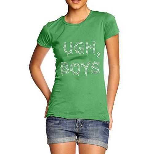 TWISTED ENVY Damen T-Shirt UGH Boys Rhinestone Diamante Stass Grün