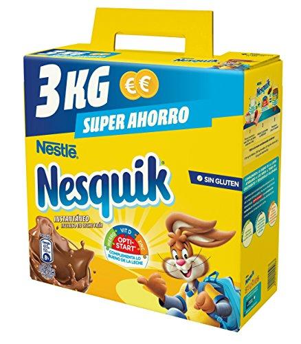 NESTLÉ NESQUIK Cacao Soluble Instantáneo Estuche - Paquete de 4 x 3 kg - Total: 12 kg