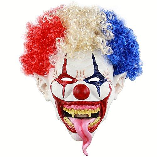 Wongfon Latex Clown Maske Böse für Erwachsene Kinder Horror Requisiten Halloween Kostüme Gruselige Party Circus Outfit