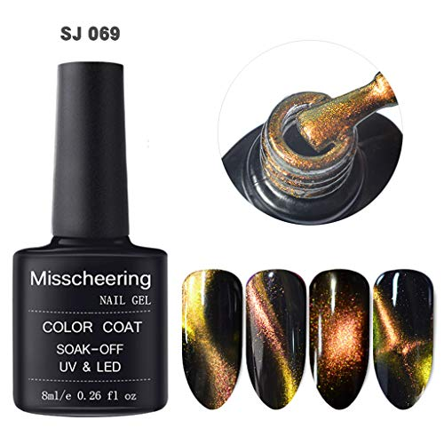 apie Kleber Nagellack, Magnet Magic Cat Eye Gel Nail Art Tränken UV-LED-Nagellack, 8 ml ()