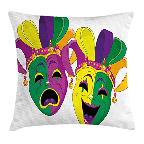 beautiful& Mardi Gras Pillow case Traditional Masks of Tragedy and Comedy Festival Celebration Masquerade Theme Throw Pillow Covers 20x20 Inches (Masquerade Decorations Theme)
