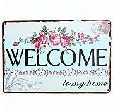 Lumanuby 1x 'Welcome' Vintage Schild von Blume Bar Werbung für Pub/Bar/Cafe Geschäft, Bar Sprüche Serie
