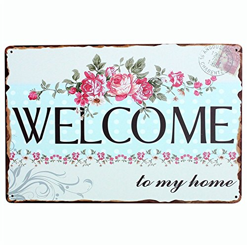 kentop Retro Cartel de chapa Welcome Póster Publicidad Pared - Rótulo para puerta (para bar Cafe Home pared decoración