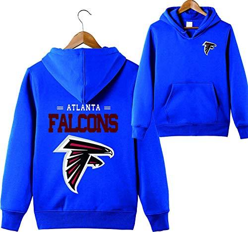 SZRXKJ Männer mit Kapuze Langarm Buchstaben drucken Atlanta Falcons Fußball Sport einfarbig Pullover Hoodies (XXL,blau)