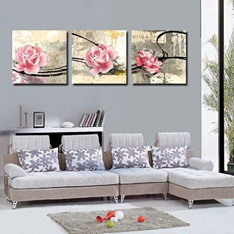 Mon Kunst Gorgeous Pink Flower Canvas Art Print Wall Art Home Decor 40*40cm x3(UnStretched and
