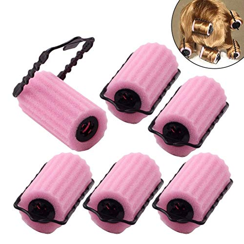 Lockenwickler Schwamm diy lockenwickler Set Haar Lockenwickler Klein Magic Lockenwickler Rollen Foam Rollers ( Rosa ) - 6 Stücke - Haar-lockenwickler-rollen