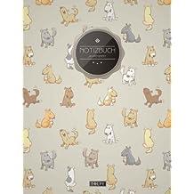 """TULPE Punktraster Notizbuch A4 """"C083 Verspielte Hunde"""" (140+ Seiten, Vintage Softcover, Punktkariertes Papier - Bullet Journal, Dickes Notizheft, ... Gepunktete Seiten, Dot Grid Notebook)"""