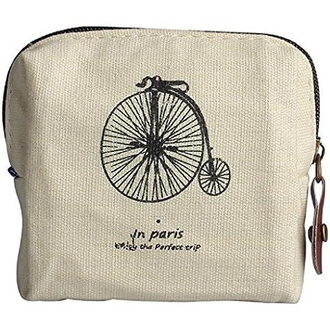 Sannysis® Mini Retro bolsa con monedas; Tarjeta Monedero del bolso de la caja; Regalo Torre Eiffel monedero (Beige)