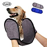 2 Pack Dog/Cat Bath Towel, Premium Soft Microfiber Pet Shower Towel with Cute Paw Pockets, Super Absorbent Quick Drying, Machine Washable Antibacterial Gray/Blue