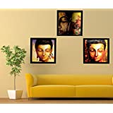 PPD Lord Buddha Framed Paintings For Home Decoration Set Of 3 / Religious Wall Paintings For Living Room And Bedroom With Frame Size Is 12 Inches X 12 Inches With Special Effect Textured .