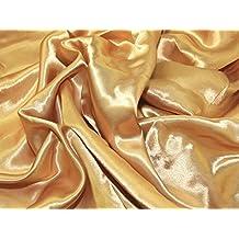 Líquido vestido de satén tela dorado–por metro
