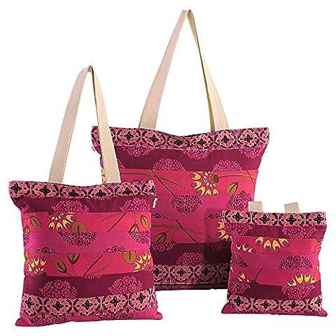 ShalinIndia - Sac Cabas avec motif patchwork, fermeture avec fermeture éclair et conception Patches Lot de 3 Taille - 25 cm 25 x 2,5 cm - Multicolore - Multi_3, Taille Unique