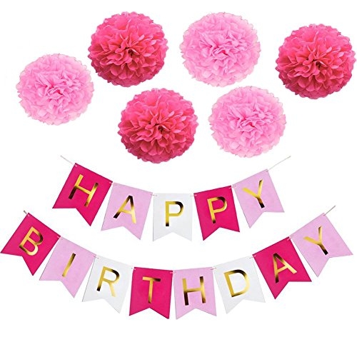 Happy Birthday Girlande Geburtstag Deko Set, Rosa Happy Birthday Banner und 6 Pcs Pompoms (Bunting Gemütliche)