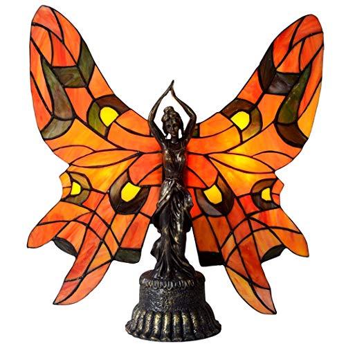 Schmetterling Tiffany Stil Tischlampe, Glasmalerei Akzent Nachtlicht, mehrfarbige Nachttischlampen für Schlafzimmer Wohnzimmer, E14, MAX40W - Dunkle Braune Farbe Finish