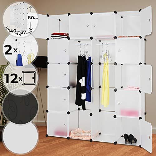 MIADOMODO Kleiderschrank - aus Kunststoff, 140/180/37 cm, 2 Offene und 12 Geschlossene Fächer, mit 2 Kleiderstangen, Weiß und Schwarz Mir Prägung - Modularer Schrank, Garderobenschrank, Regalsystem
