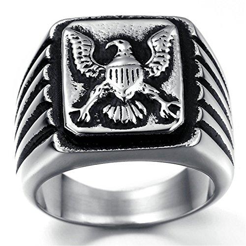 Adisaer Edelstahl Ring Herren Punk Ringe Schwarz Silber Platz Gravur Adler Ring Größe 57 (18.1) für Männer Gothic Bandring Hip Hop (Für Crown Männer, Hip-hop-ringe)