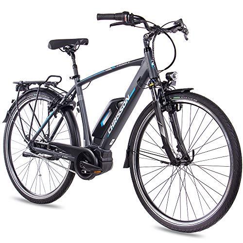 CHRISSON 28 Zoll E-Bike Pedelec Herrenrad City BIK E-Rounder mit 7G Nexus Bosch Active Line 40Nm anthrazit