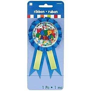 Amscan Ruban de récompense avec confettis pour garçon Happy Birthday