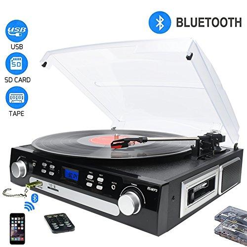 DigitNow! Bluetooth Vinyl Plattenspieler, Kassette, Radio und Aux in mit USB Port & SD Encoding- Fernbedienung, Eingebauter Stereolautsprecher, Stand Alone Music Player, Audio Eingebauter Verstärker (Hinweis: Langes Drücken der Power-Taste für 5 Sekunden zum Booten)