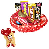 Valentines Day Chocolate Gift | Valentine's Day Gift Combo for Him, Her, Husband, Wife, Loved Ones, Girl Friend | Valentine Heart Teddy Bear | Valentine Chocolate Hamper | 1165