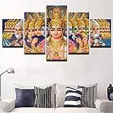 ZhuHZ Moderne Rahmen Druck modulare günstige Bild 5 Panel indischen Gott Shiva wandkunst für Wohnzimmer Dekoration Kunst leinwand drucken