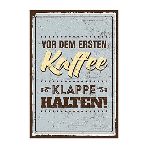 Holzschild mit Spruch – VOR DEM ERSTEN KAFFEE, KLAPPE HALTEN – shabby chic retro vintage nostalgie deko Typografie-Grafik-Bild bunt im used-look aus MDF-Holz, Schild, Wandschild, Türschild,
