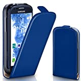 moex Samsung Galaxy S3 Mini | Hülle Blau 360° Klapp-Hülle Etui thin Handytasche Dünn Handyhülle für Samsung Galaxy S3 Mini S III Case Flip Cover Schutzhülle Kunst-Leder Tasche