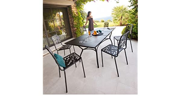 Table et chaises de jardin Hespéride SICILIA: Amazon.fr: Cuisine ...