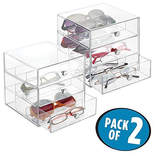 Foto de mDesign Juego de 2 guarda gafas con 3 cajones cada uno – Organizador de gafas de vista, de lectura o de sol – Expositor de gafas con subdivisiones fabricado en plástico – transparente