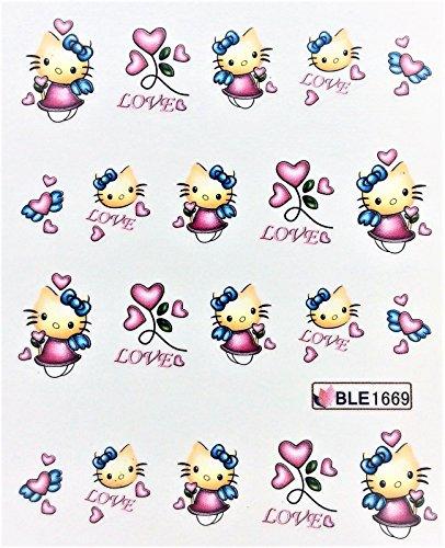 CartoonPrintDesign - 2 Stück Nagel Sticker Cartoon Water Transfer Sticker Nailart Wasser Nagelsticker Nagel Tattoo Nagelaufkleber Hello Kitty Cartoon Design - B1669