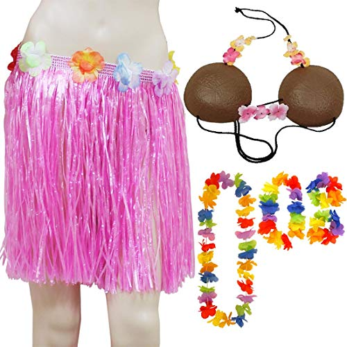 Islander Fashions Womens Hawaiian Hula Lei 4er Set Hula Rock mit Blumen und Kokosnuss-BH-Set