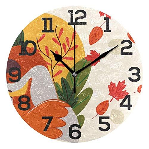 Xukmefat Herbst Marple Leaf Fox Mutter mit Sonne Wanduhr Silent Non Ticking Acryl 10 Zoll Home Office Schule dekorative runde Uhr Kunst -