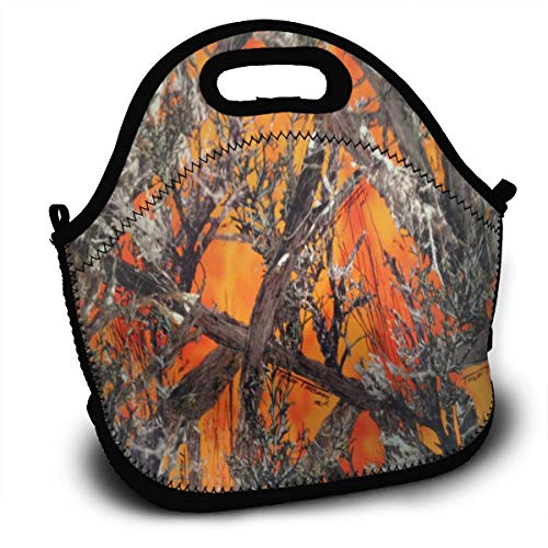 ALDDL Realtree Camo Orange Boys Girls Lunchbox Food Container Gourmet Tote Cooler Warm Pouch for School Work Office -