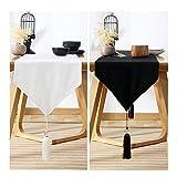 AYUE® Pure Black Table Runner Lange Tischläufer Tischwäsche Aus Baumwollleinen (33X220cm),White,33 * 240Cm