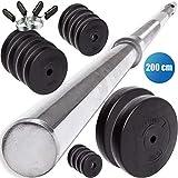 C.P. Sports - Set di manubri Lunghi da 30 mm, 68 kg, con bilanciere da 200 cm, in plastica, 68 kg, 68 kg - Hantelset