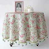 QIN PING GUO Mantel redondo europeo de lujo del estilo americano floral Pastoral mantel del paño de algodón de lino mantel ( Tamaño : D140 cm )