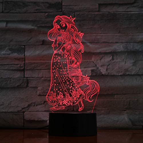 Rapunzel - 3D Illusionslampe, 7-Farbig Verlaufend, Led-Nachttischlampe, Berührungsschalter (Party Decor Rapunzel)