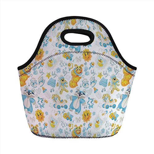Jieaiuoo Portable Lunch Bag,Nursery,Its a Boy Image with Happy Sun Raccoon in Pyjamas Blue Hats and Pacifier Decorative,Earth Yellow Aqua,for Kids Adult Thermal Insulated Tote Bags -