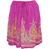 Mogul Interior Womens Mini Skirt Pink Sequin Work Gypsy Flare Sexy Retro Skirts