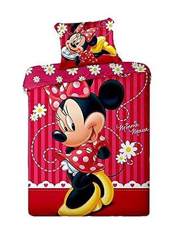 Parure de lit Minnie Stripe Disney - Housse de couette réversible lit 1 personne coton