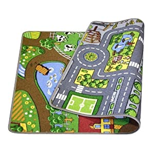 Colorama Play Mat, Reversible Play - Farm/Roads, 80 x 120 cm