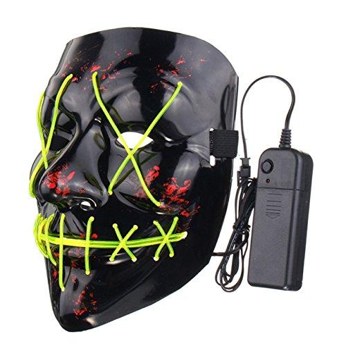 Ballylelly Funny LED Light Up Flash Mask Halloween Party Night Club Festival Men Women Costume Cosplay LED Novelties Mask DJ Mask  fluorescent green