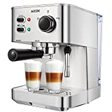 #2: Espresso Machine Aicok, Cappuccino and Latte Coffee Maker, 15 Bar Espresso Maker with Independent Milk Frother, Stainless Steel Coffee Machine