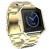 Correa de reemplazo deportiva de acero inoxidable para los relojes inteligentes de la marca Fitbit Blaze, ajustable a la muñeca. Por TopTen, Hombre, FT-060, dorado, 22cm*2.3cm