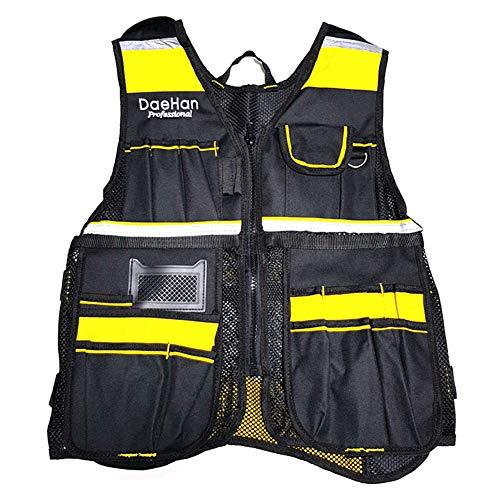 Tactical Workwear Lightweight Tool Vest Bag Zipper Pocket Pouch Breathable Mesh Reflective Strip Electrician Framer Surveyors Contruction Fishing Carpenter Mountain Climbing Outdoor Equipment Supplies -