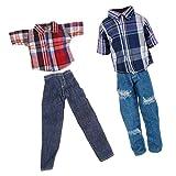 Sharplace 2 Sätze Puppenkleidung Für 28cm-33cm Barbie Ken Puppe - T-Shirt mit Lange Hosen
